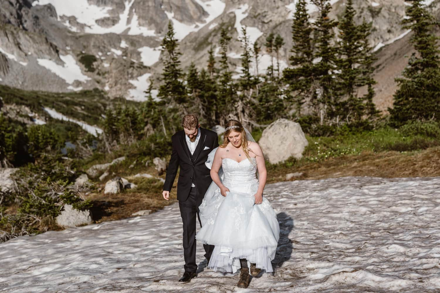 Elopement Definition Bride and Groom Hiking Colorado