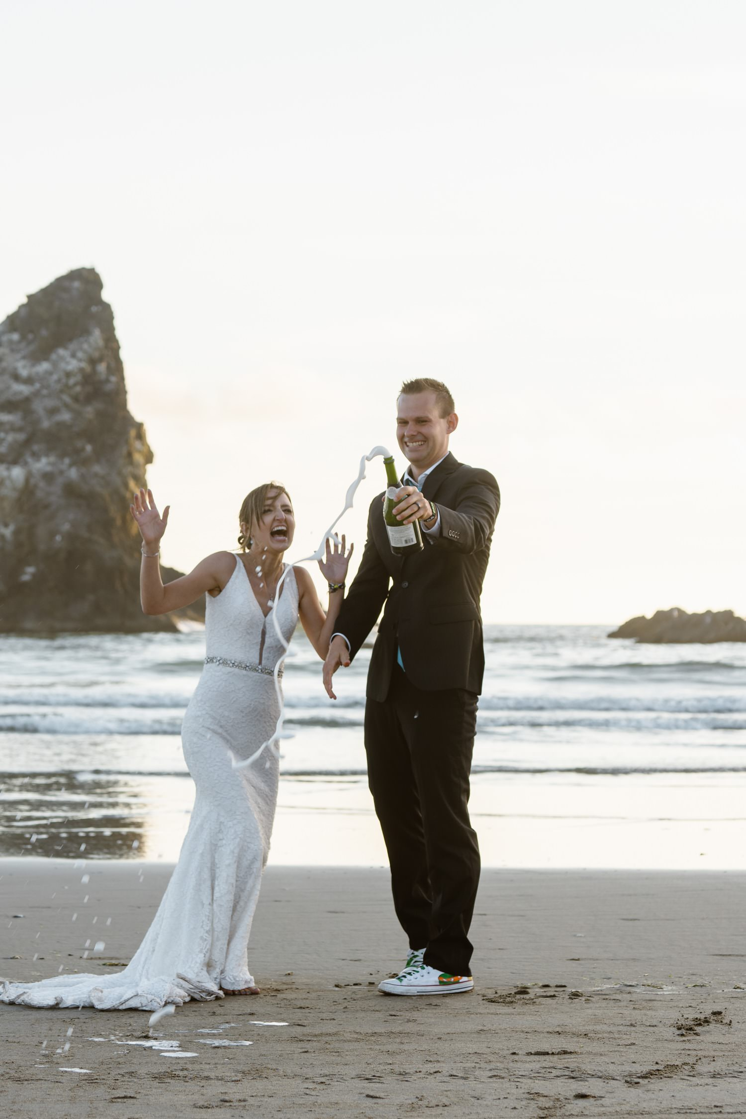Cannon Beach Elopement Champagne Celebration