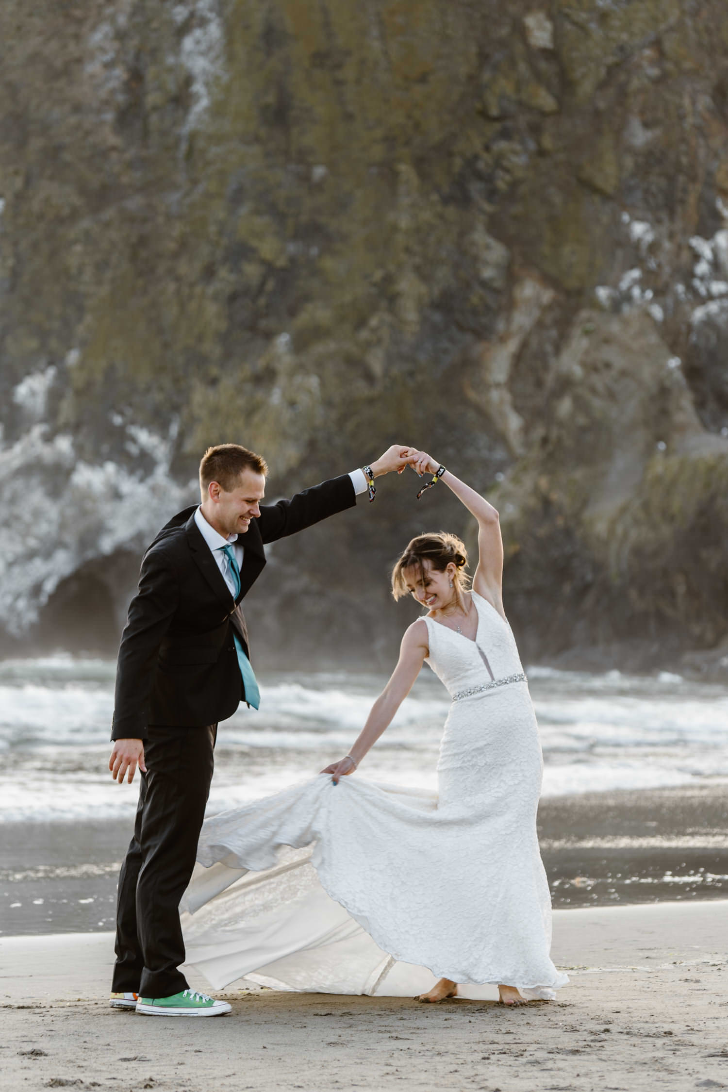 Cannon Beach Oregon Elopement Dancing