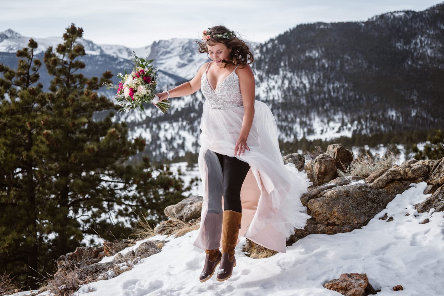 3m Curve Elopement Bride Jumping
