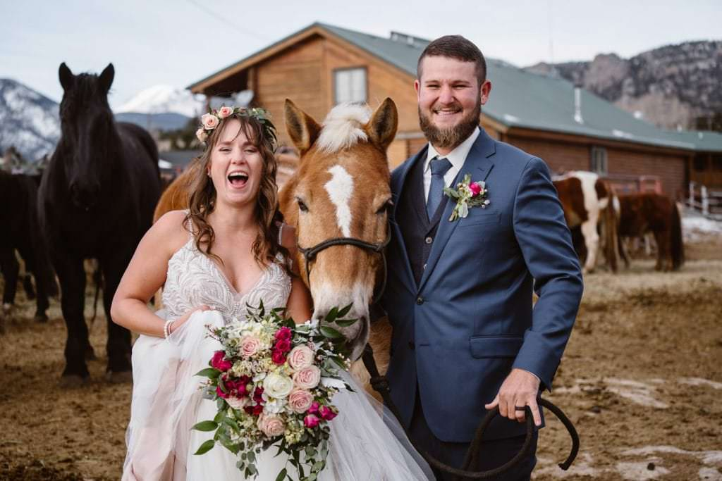 3m Curve Elopement Bride and Groom With Horses at Estes Park