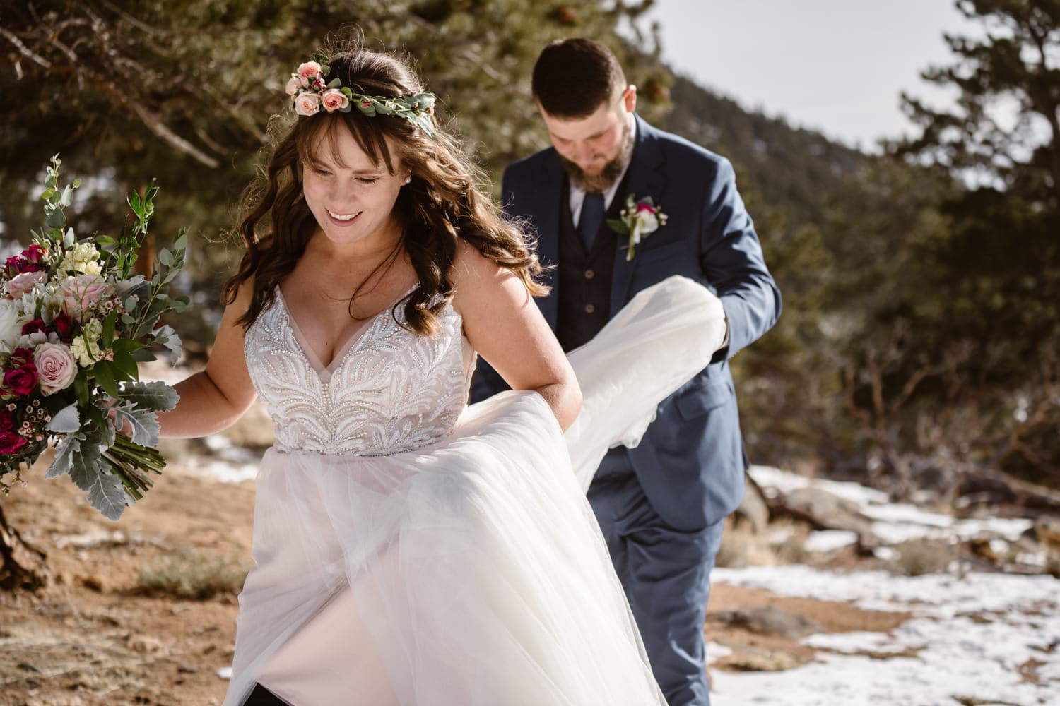 3m Curve Elopement Bride and Groom Hiking