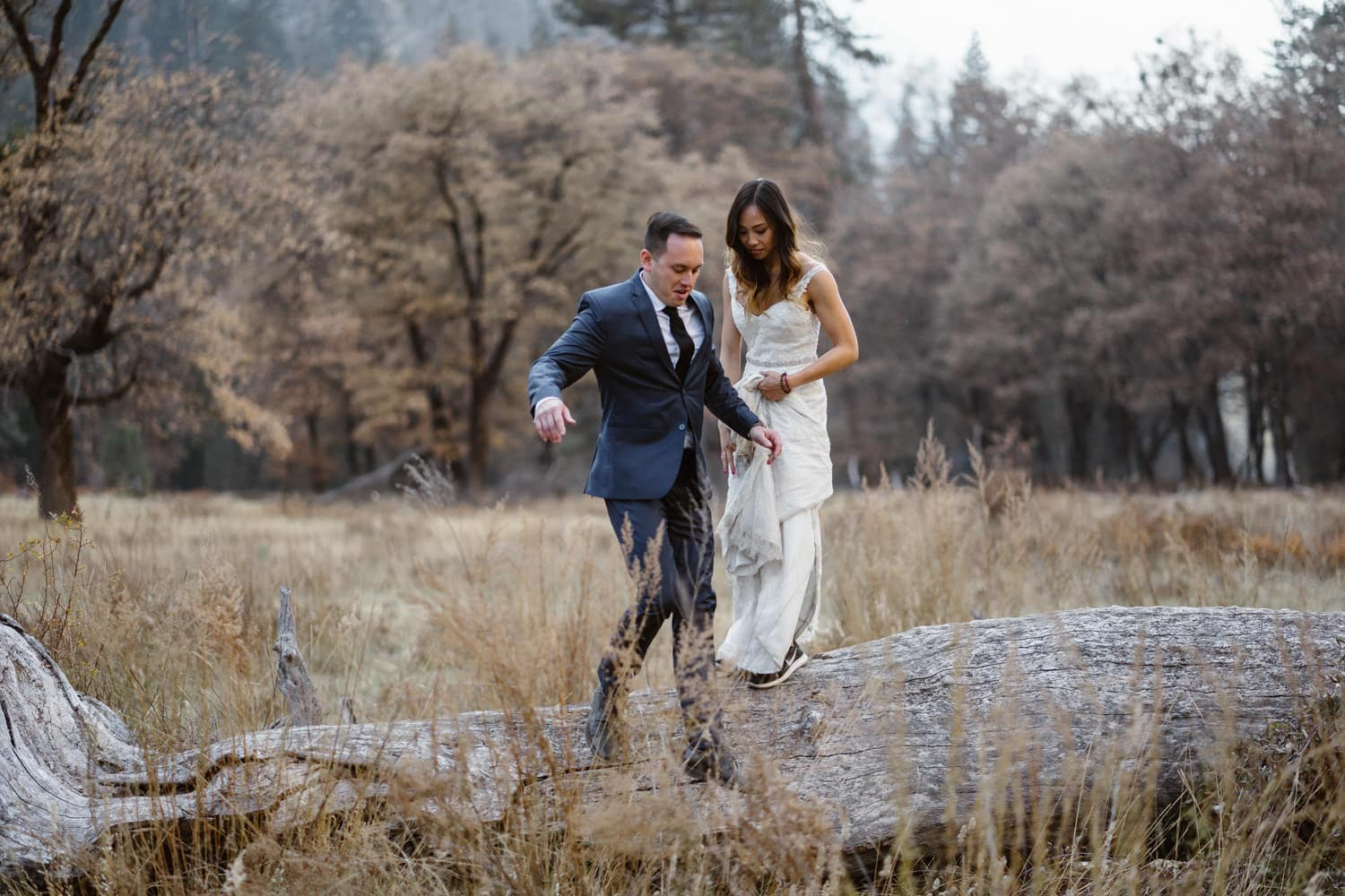 Bride and Groom Jumping Yosemite Valley Elopement