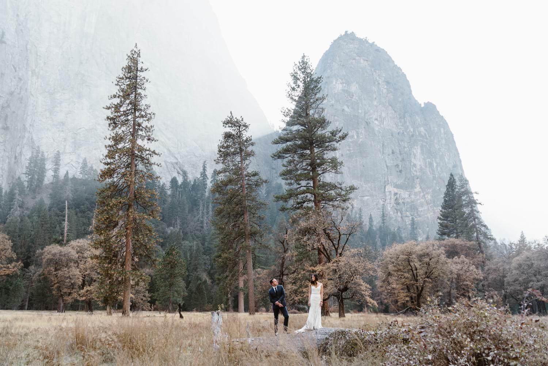 Bride and Groom Yosemite Valley Elopement