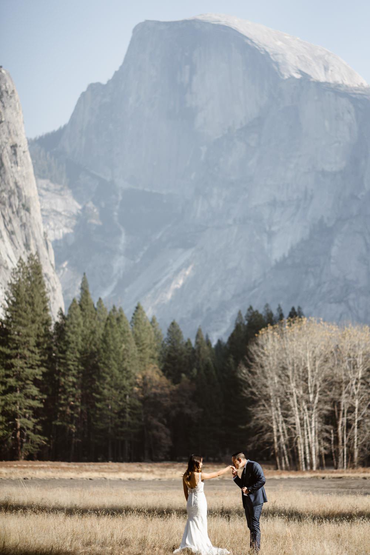 Bride and Groom Half Dome Yosemite Valley Elopement