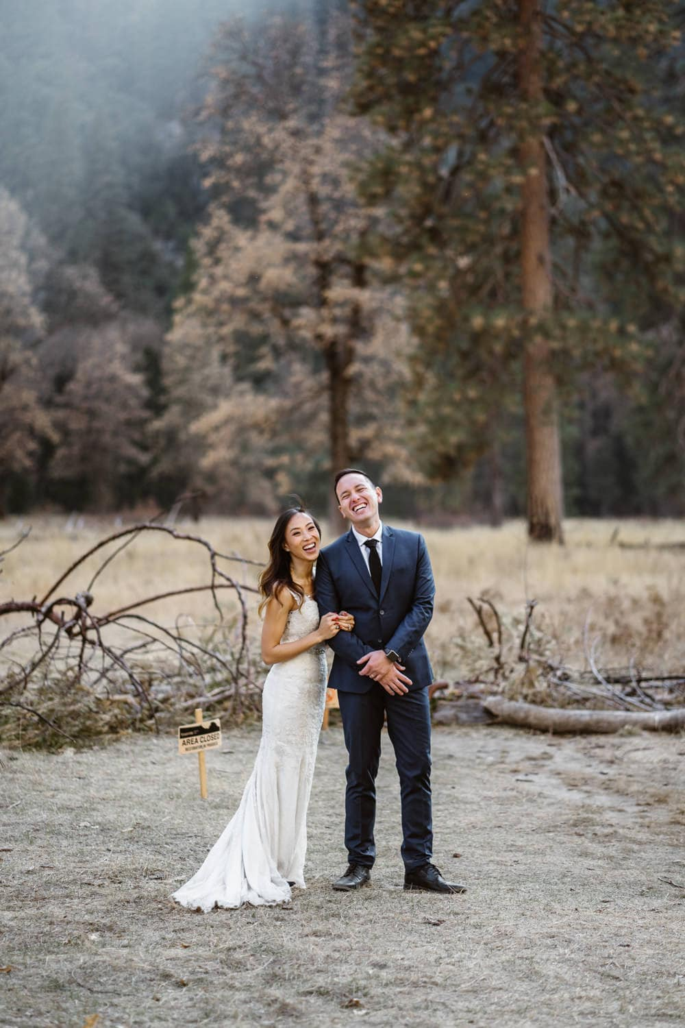 Bride and Groom Laughing Yosemite Valley Elopement
