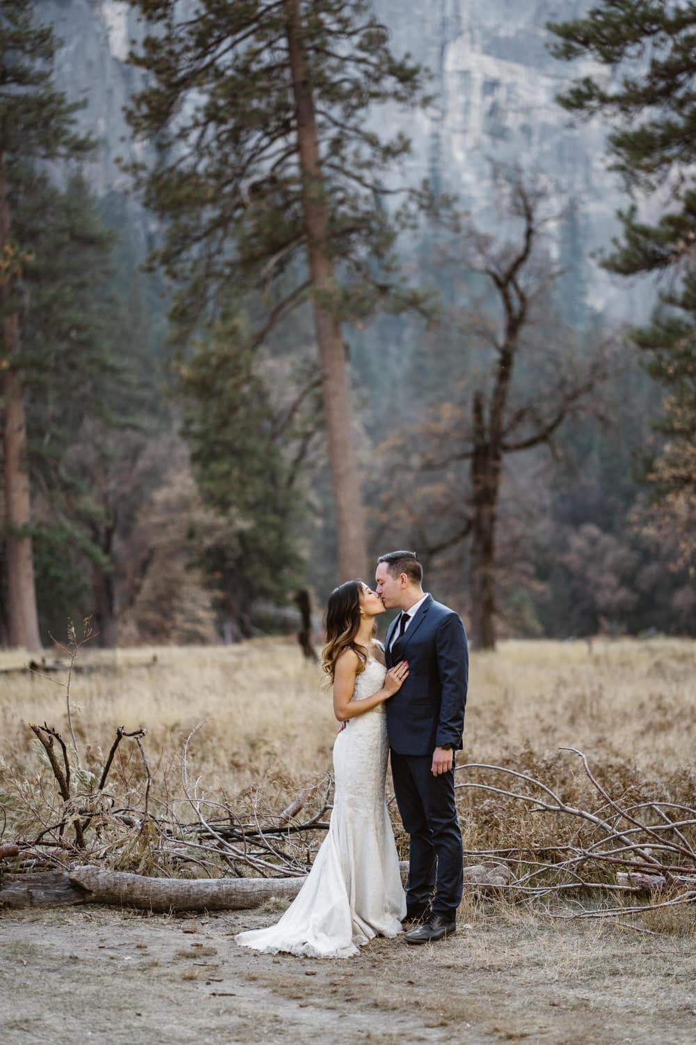 Bride and Groom Kissing Yosemite Valley Elopement