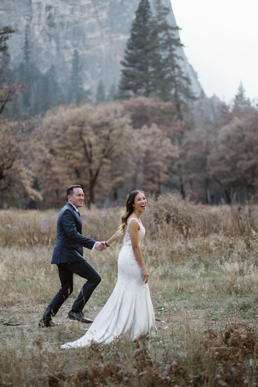 Bride and Groom Running Yosemite Valley Elopement