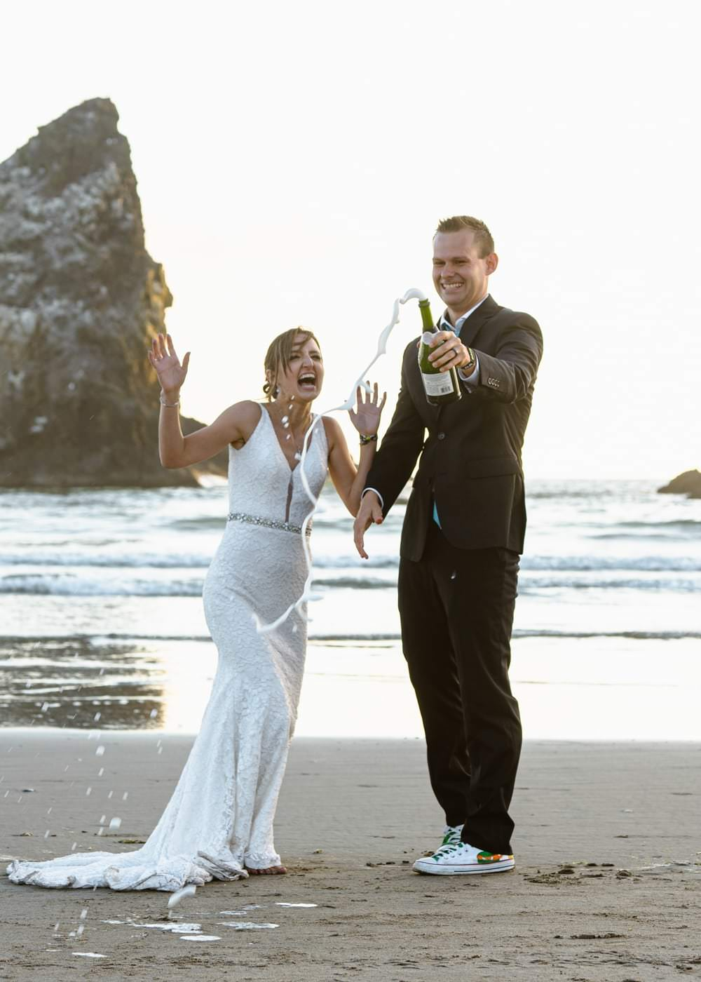 Eloping With Family - Cannon Beach Champagne Toast