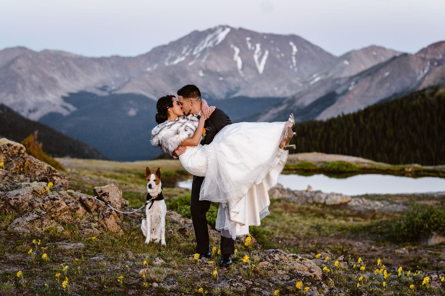 Bride and Groom Kissing at  Independence Pass Elopement
