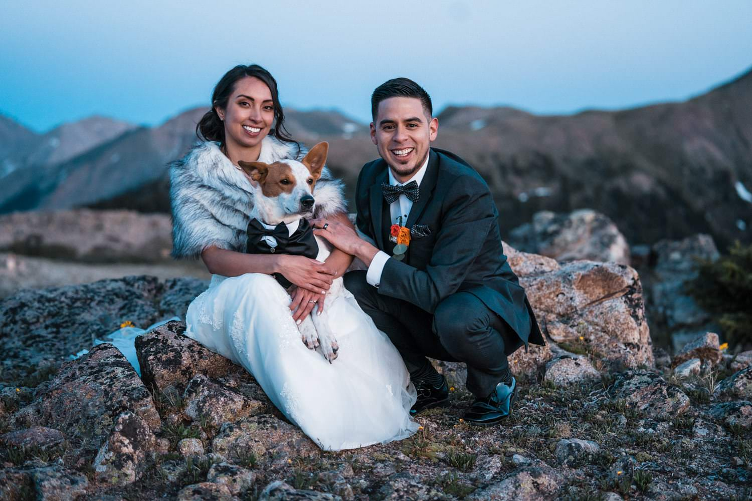 Bride and Groom With Dog at  Independence Pass Elopement