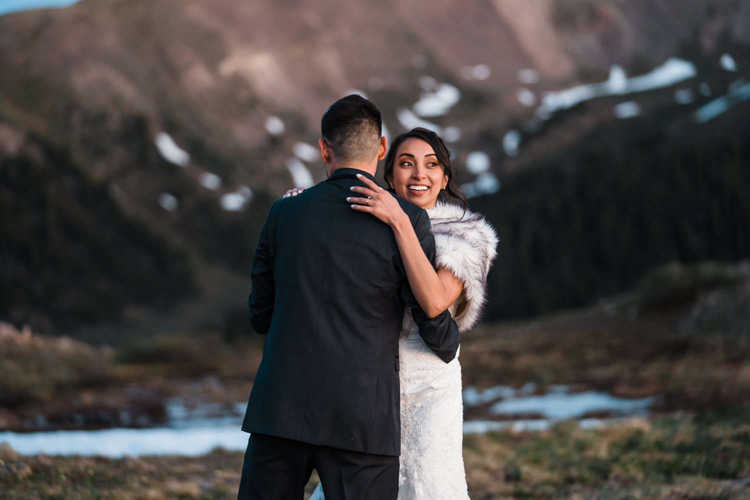 Bride and Groom Dancing at  Independence Pass Elopement