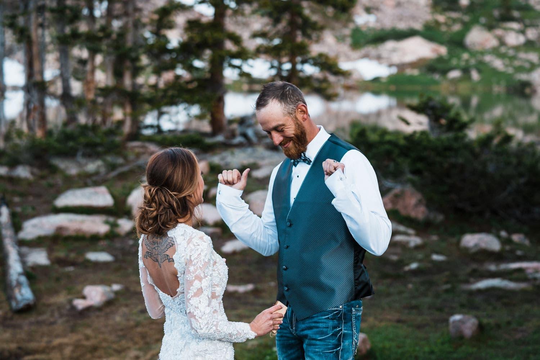 Bride and Groom Dancing Backpacking Wedding Elopement