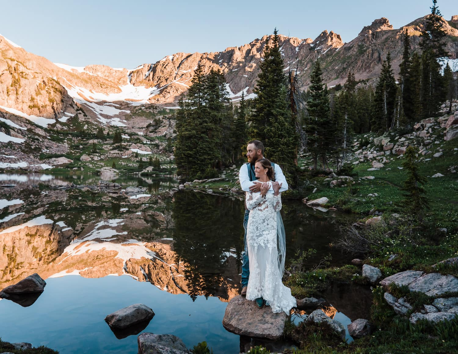 Bride and Groom Lakeside Backpacking Wedding Elopement