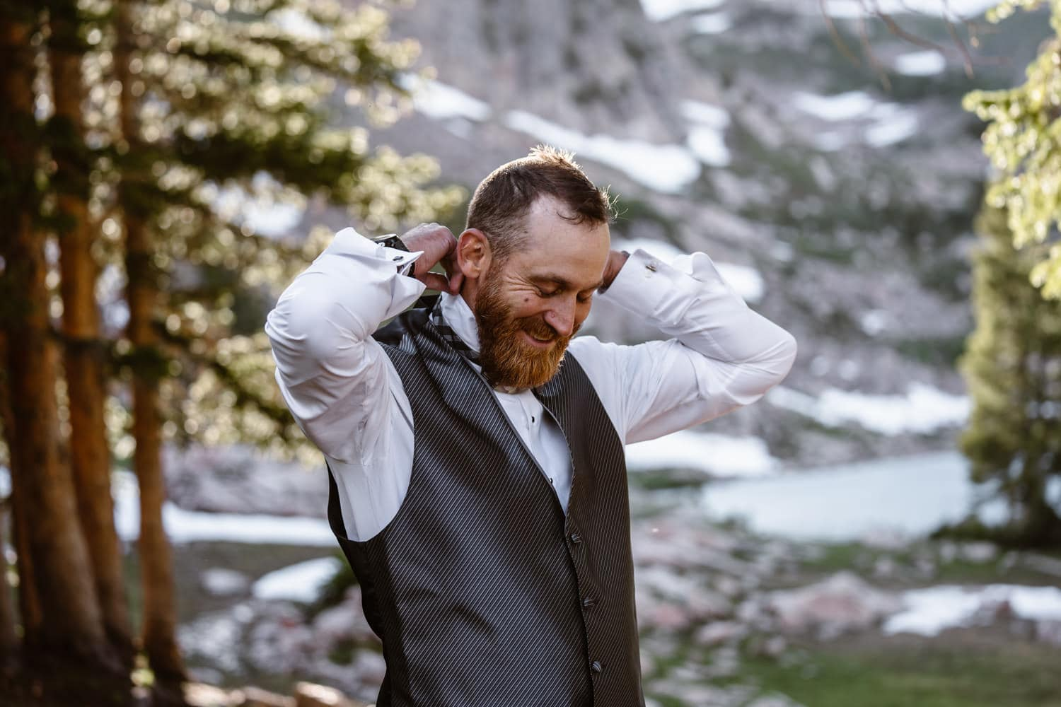 Groom Getting Ready Backpacking Wedding Elopement