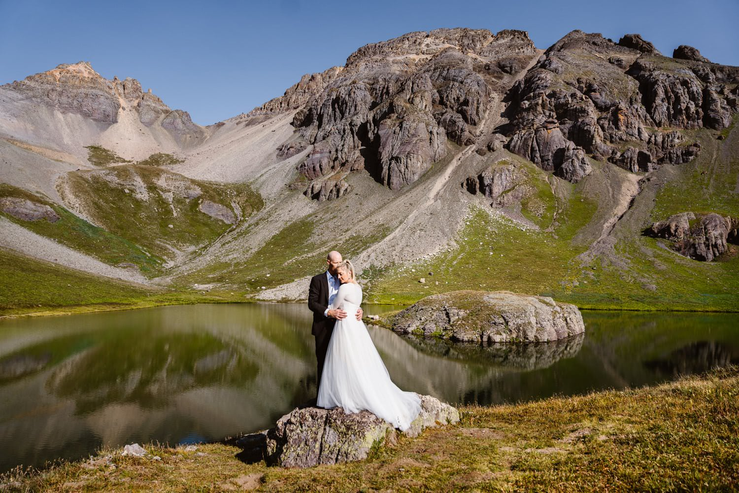 Bride and Groom Hugging Telluride Elopement Packages
