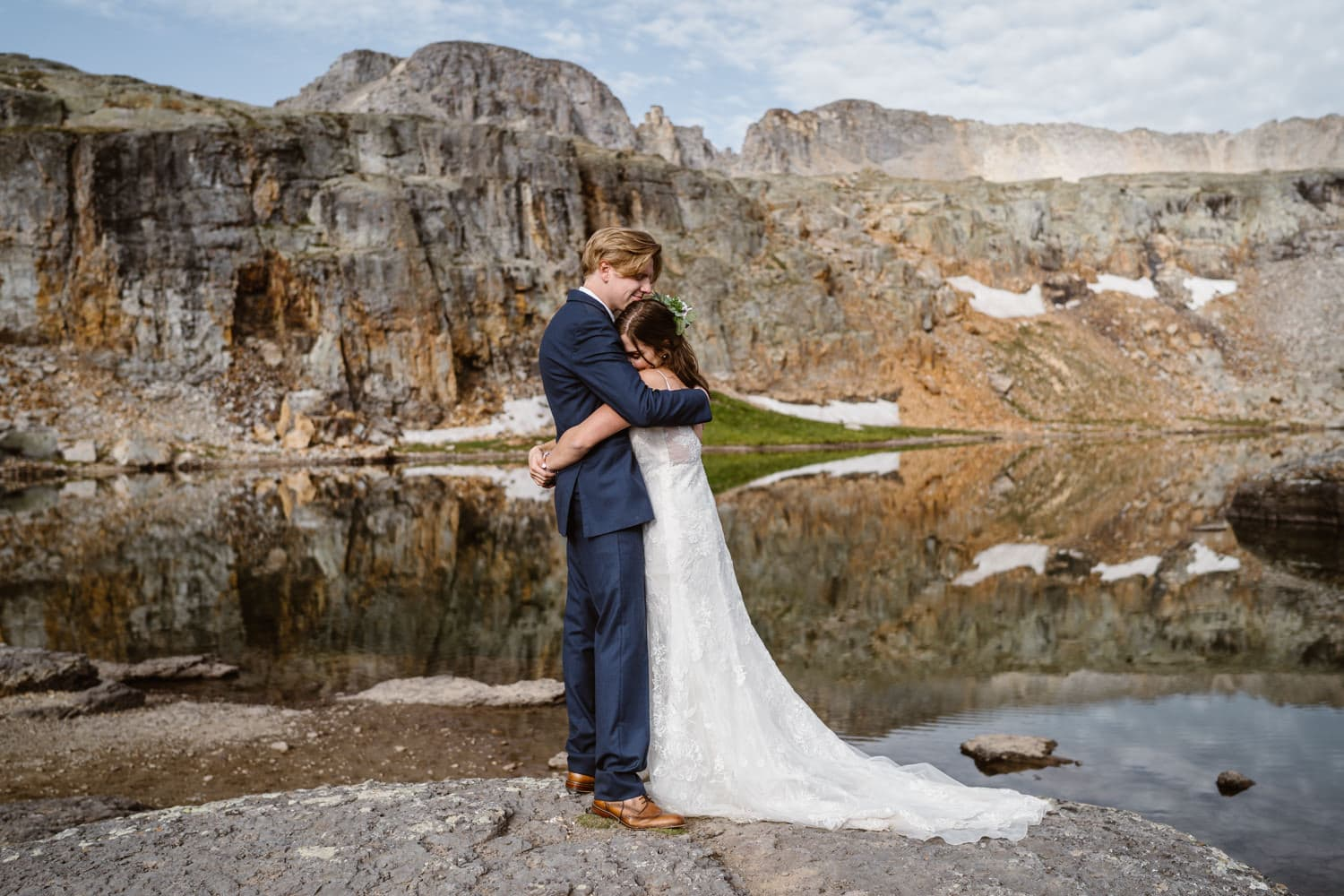 Bride and Groom Alpine Lake Colorado Mountain Elopement Packages