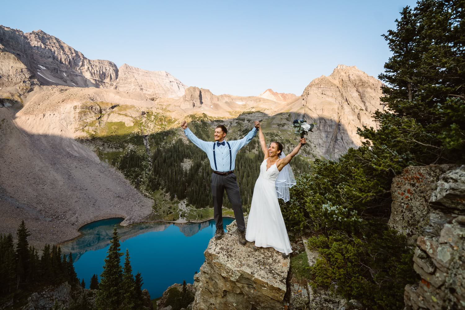 Bride and Groom Celebrating Colorado Mountain Elopement Packages