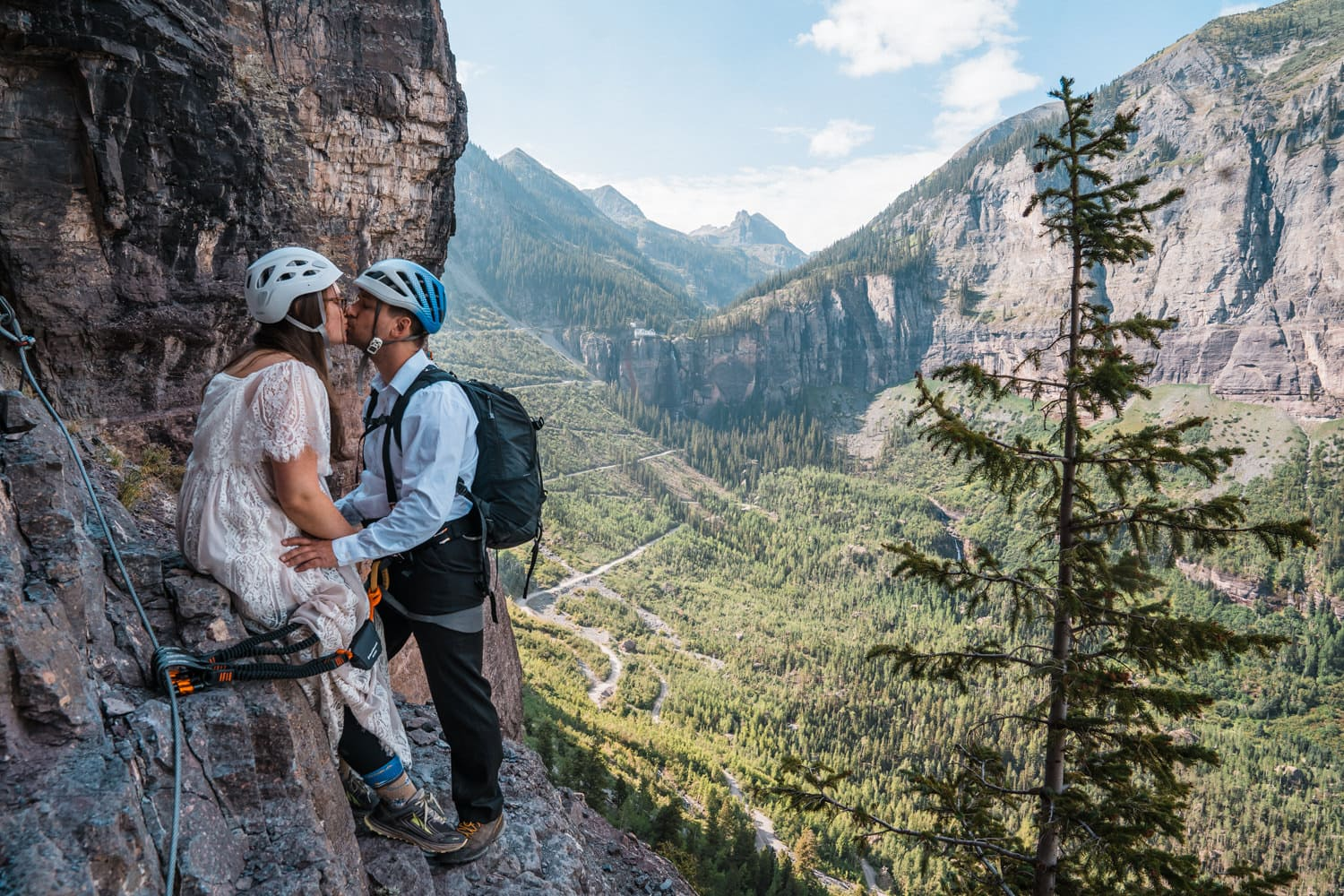 Bride and Groom Climbing Colorado Mountain Elopement Packages