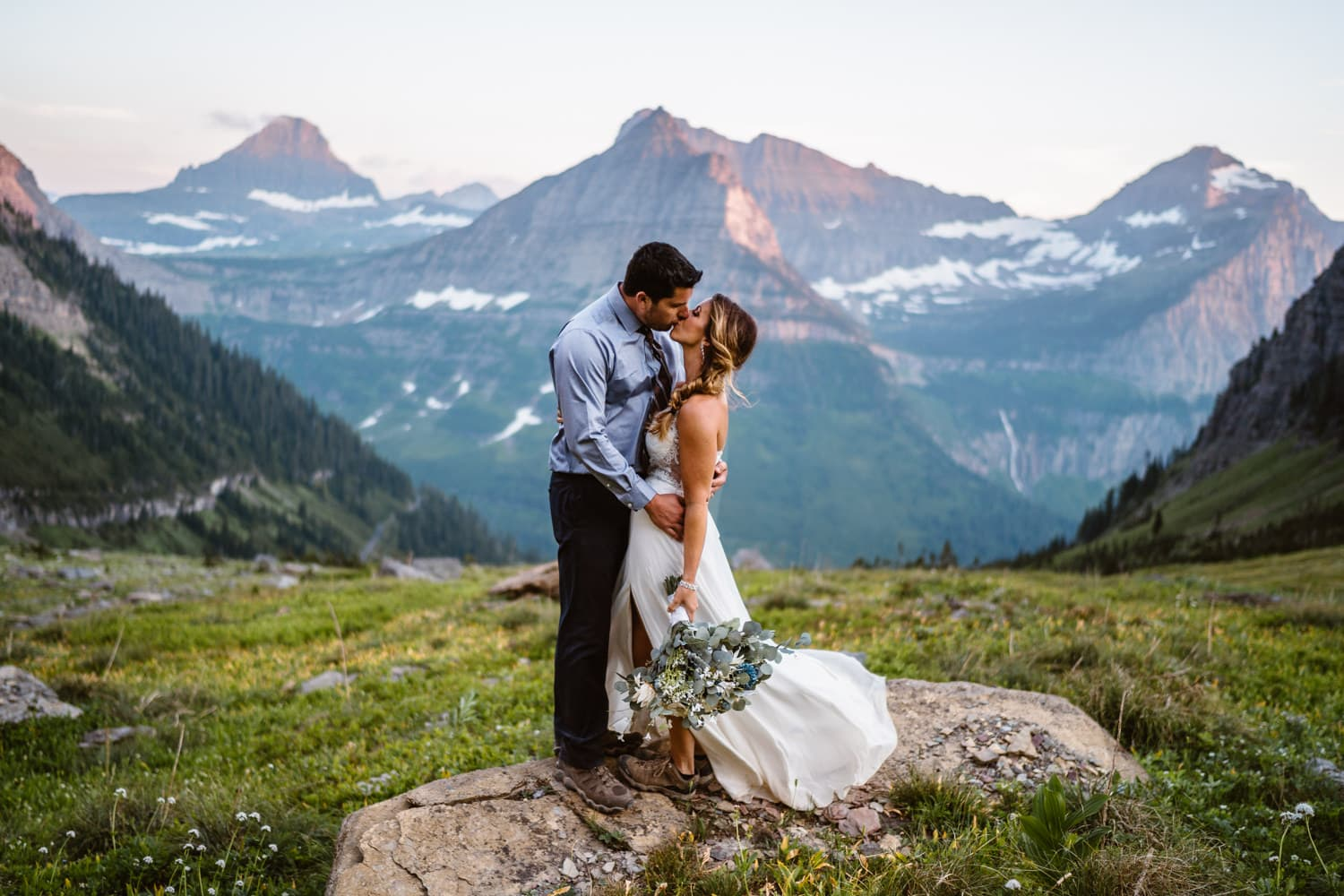Glacier National Park Elopement Guide & Packages Bride and Groom