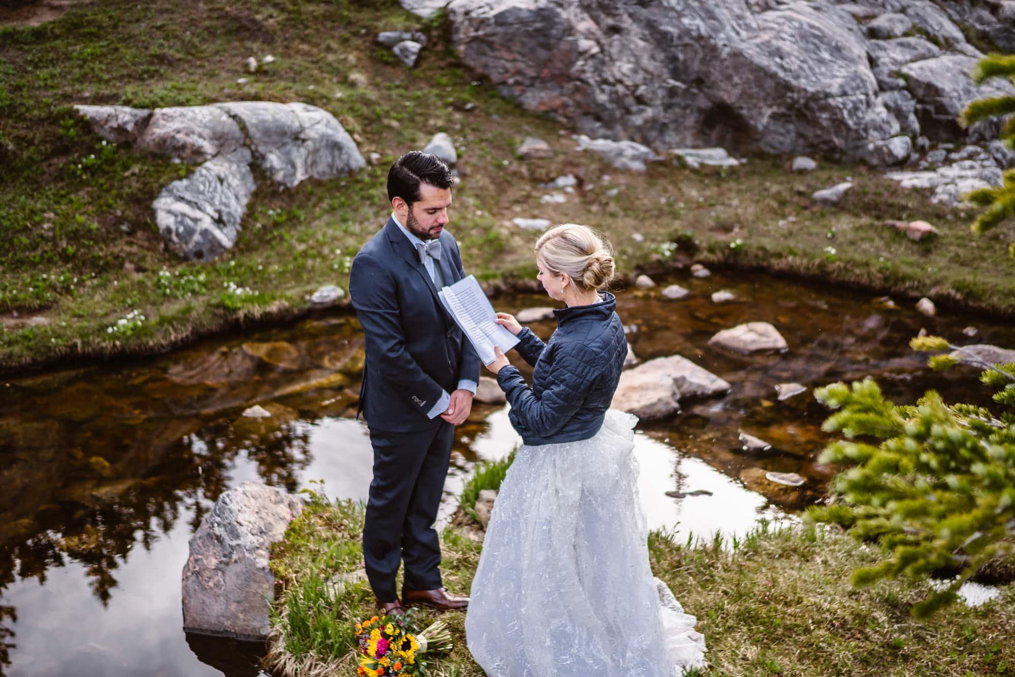 Bride and Groom Vow Ceremony Vail Colorado Elopement