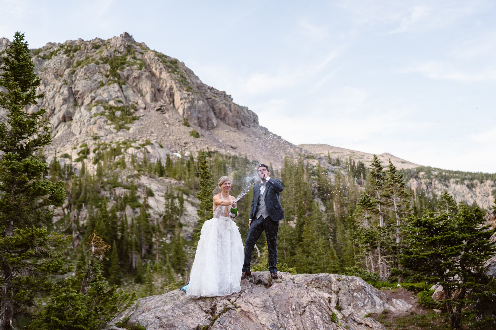 Bride and Groom Champagne Vail Colorado Elopement