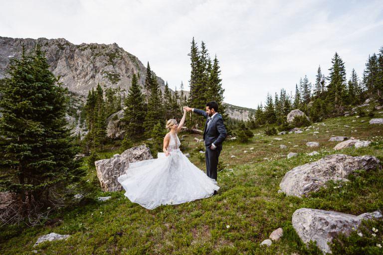 Bride and Groom Dancing Vail Colorado Elopement
