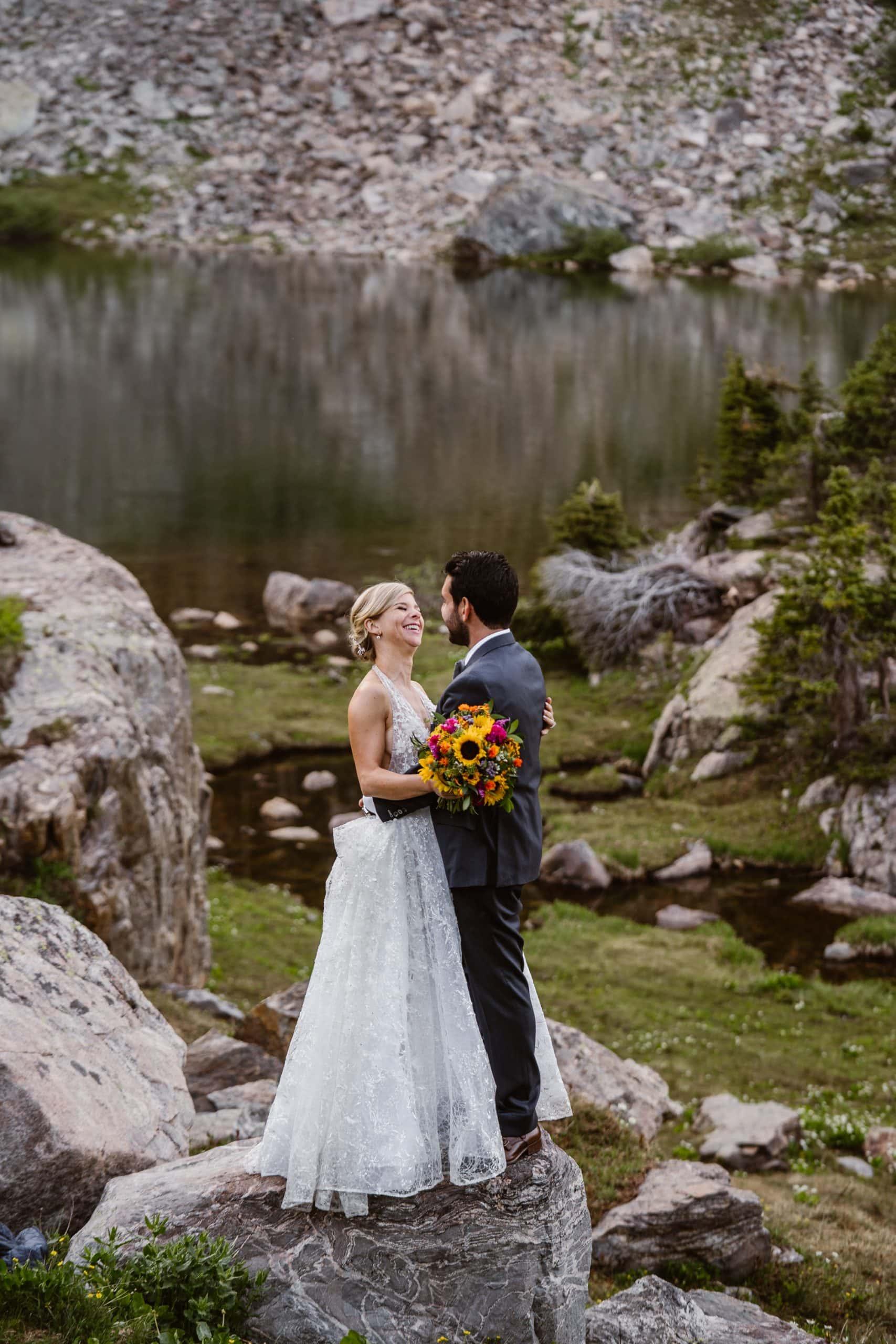 Bride and Groom Smiling Vail Colorado Elopement