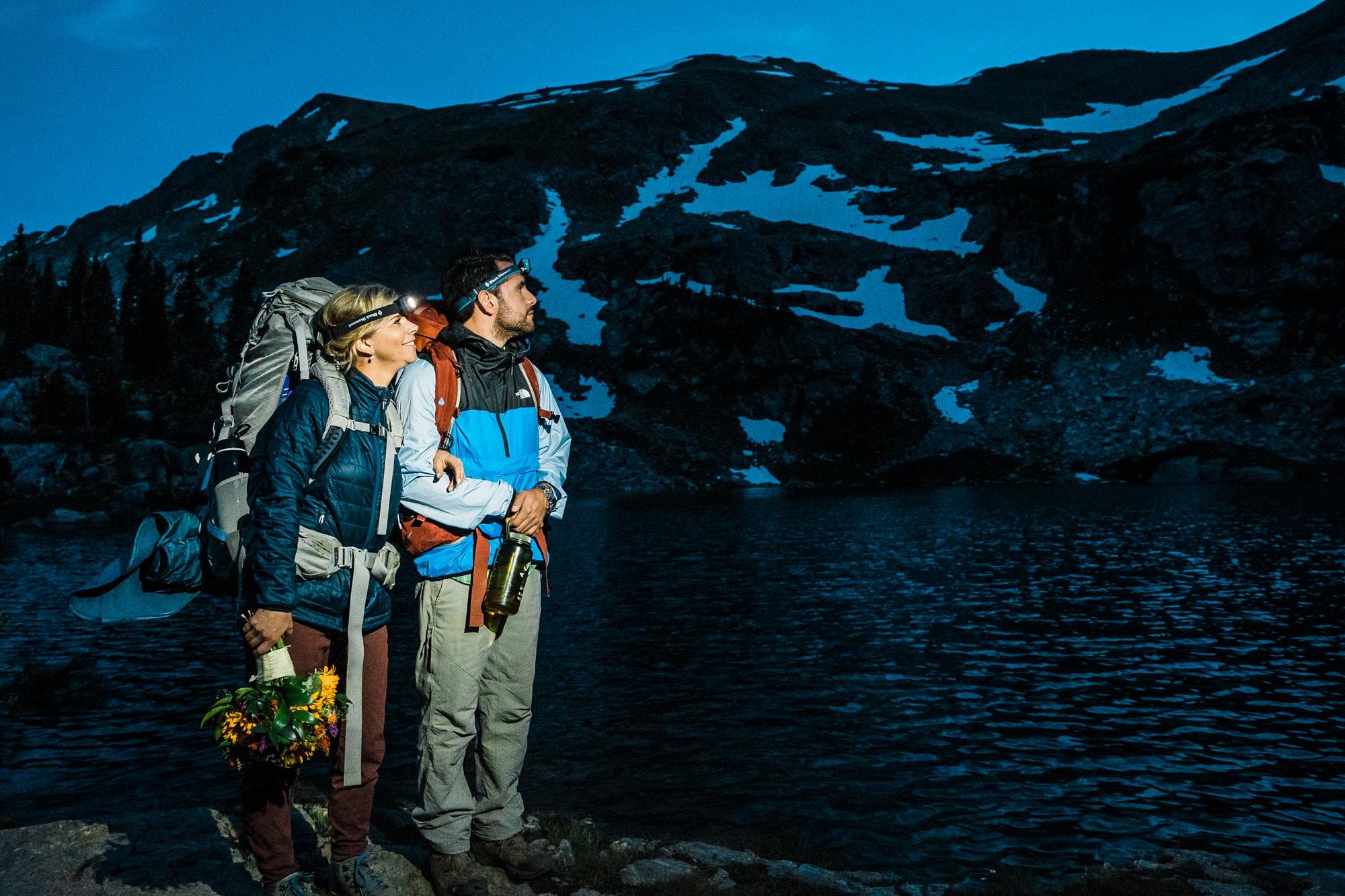 Bride and Groom Headlamps Vail Colorado Elopement