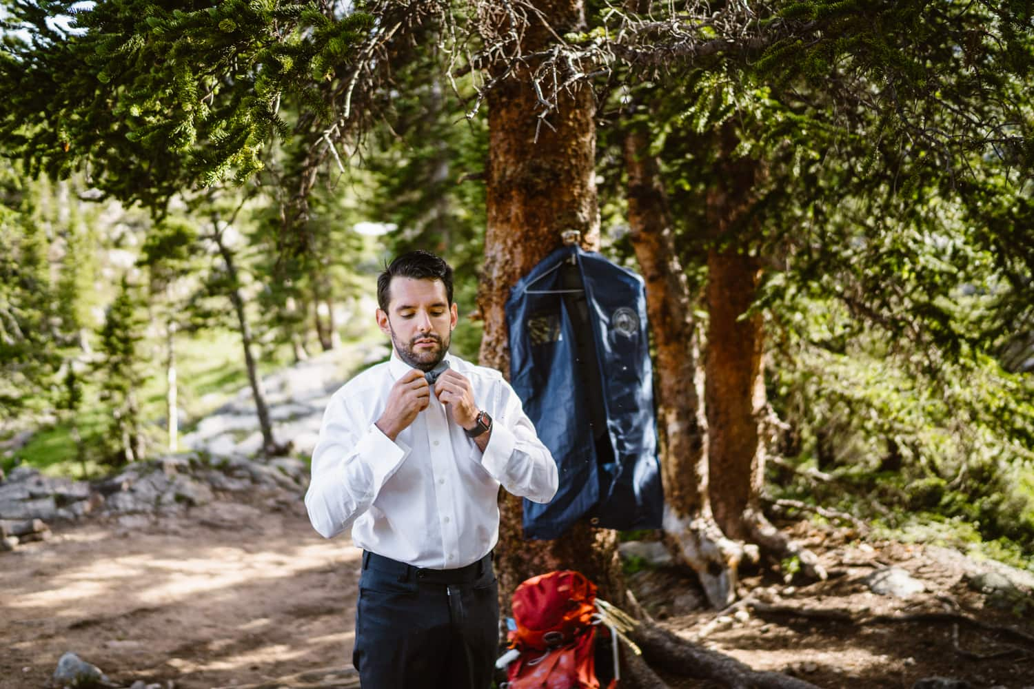 Groom First Look Vail Colorado Elopement