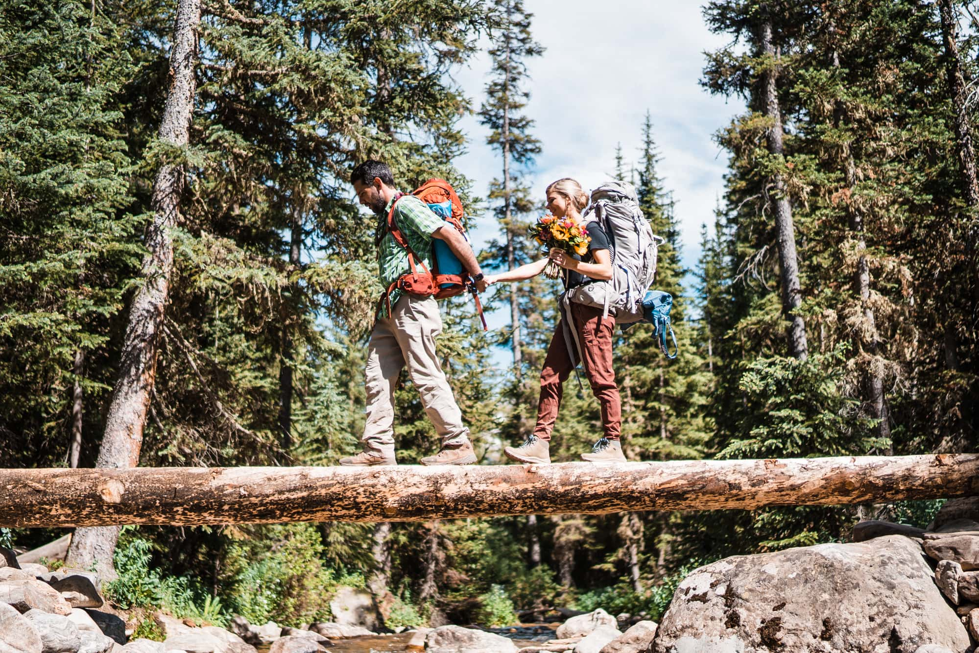 Bride and Groom Hiking Vail Colorado Elopement
