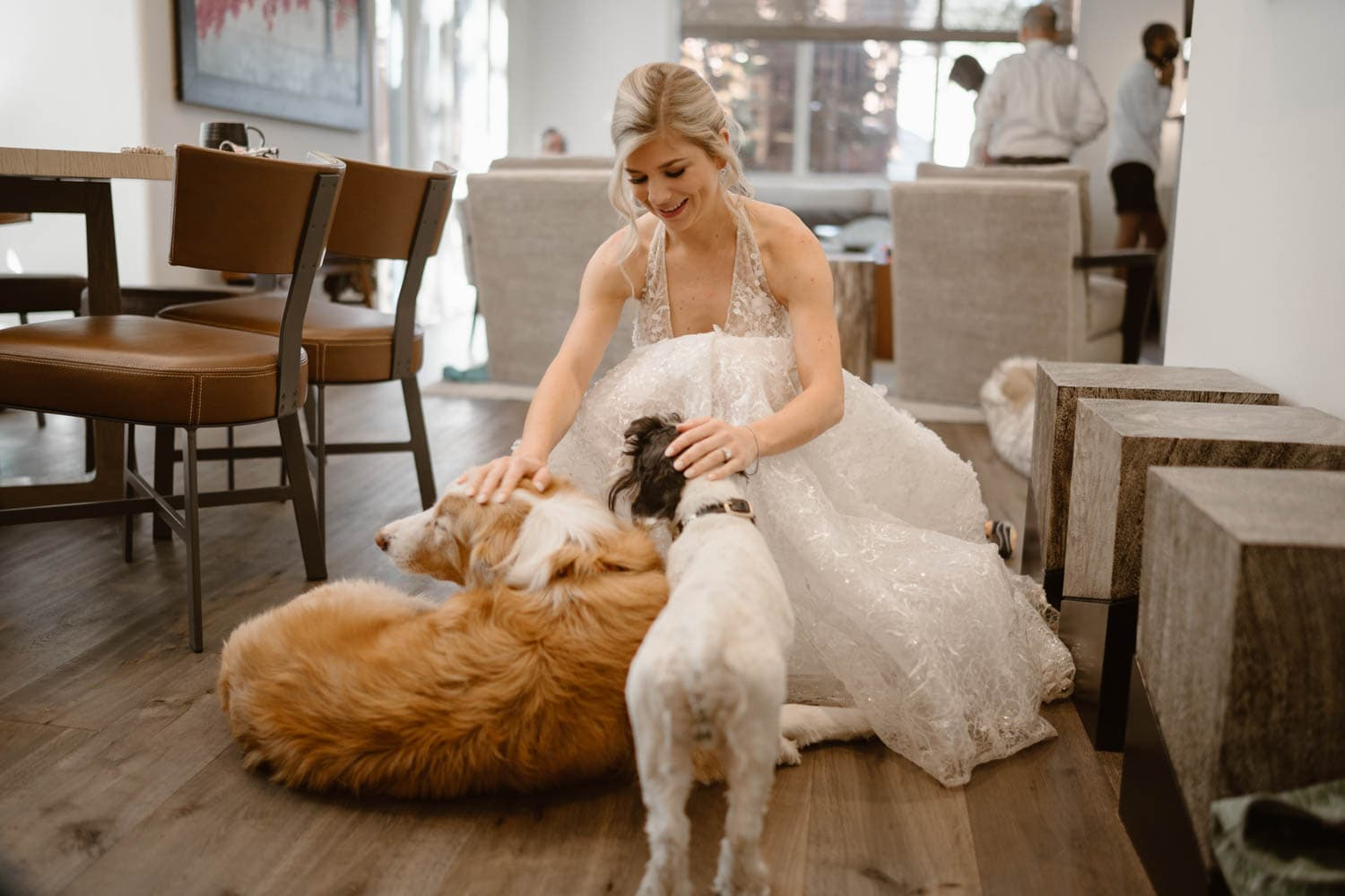 Bride With Dog Colorado AirBnb Elopement Guide