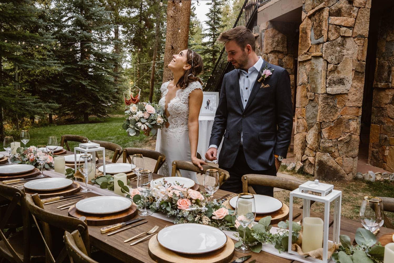 Bride and Groom at Colorado AirBnB Elopement