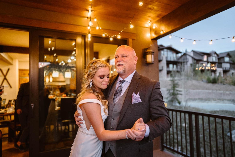 Bride and Dad at Colorado AirBnB Elopement
