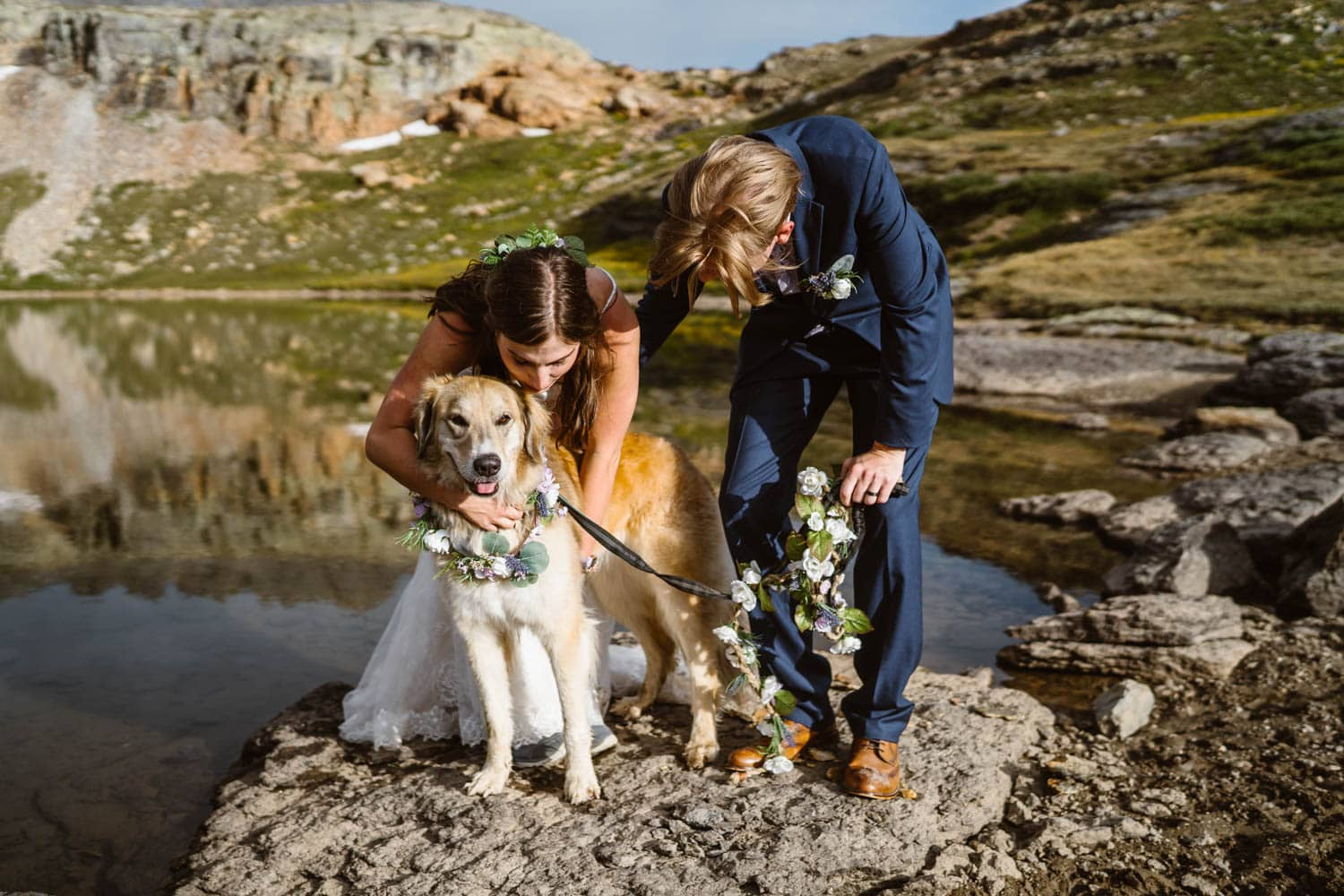 Bride and Groom With Dog Ouray Colorado Elopement