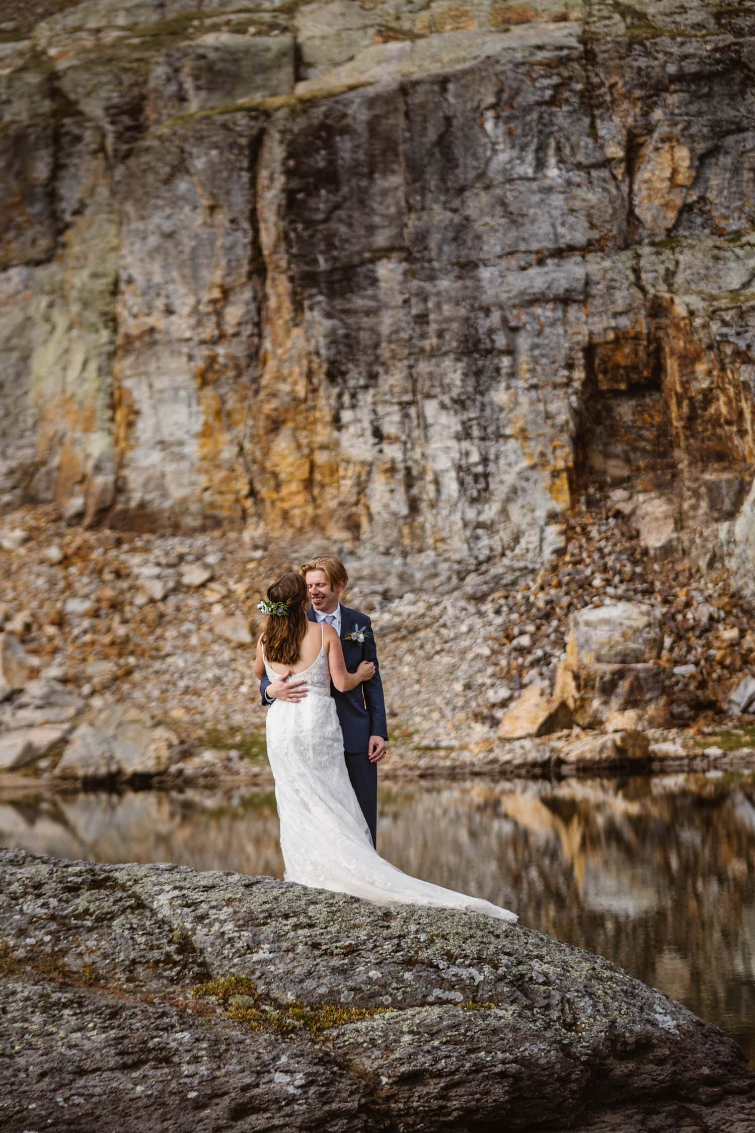 Bride and Groom Laughing Ouray Colorado Elopement