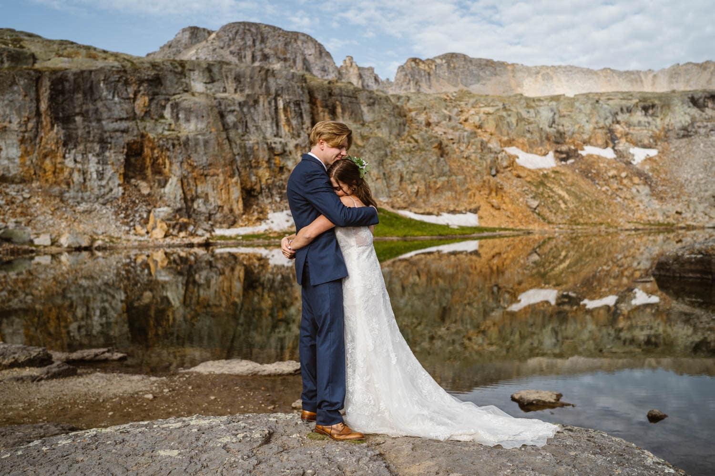 Bride and Groom Hugging Ouray Colorado Elopement