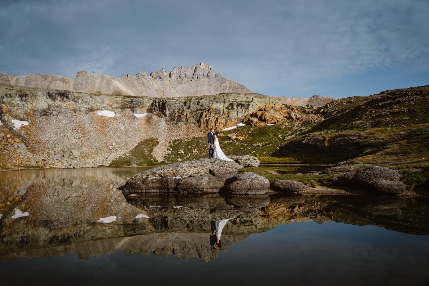 Couple Hugging Exchange Ouray Colorado Elopement