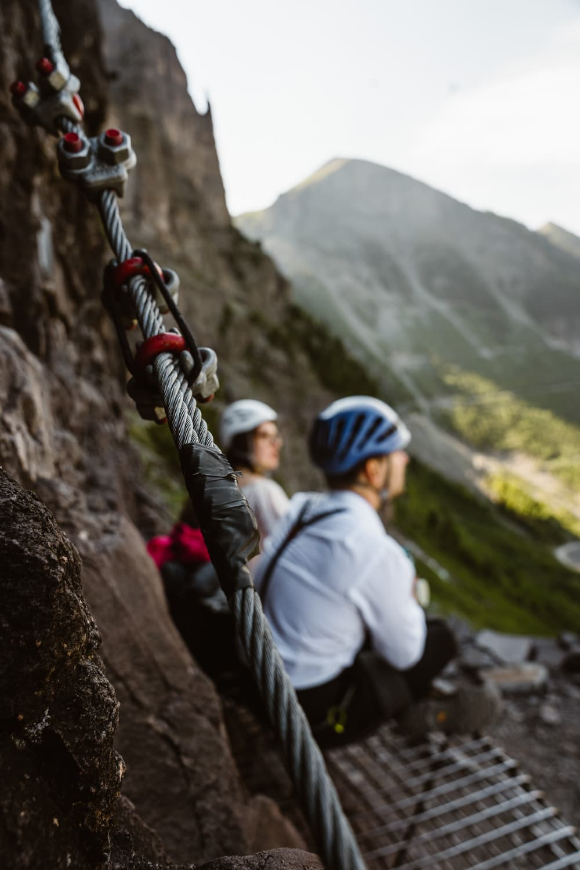 Bride and Groom Climbing Via Ferrata Telluride Elopement