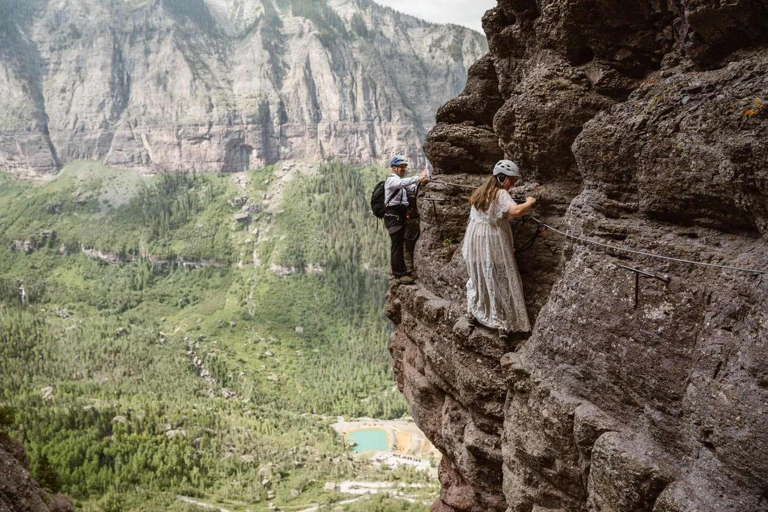 Bride and Groom Climbing Via Ferrata Elopement