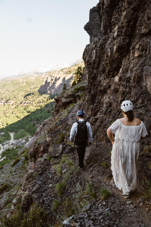 Bride and Groom Via Ferrata Telluride Elopement