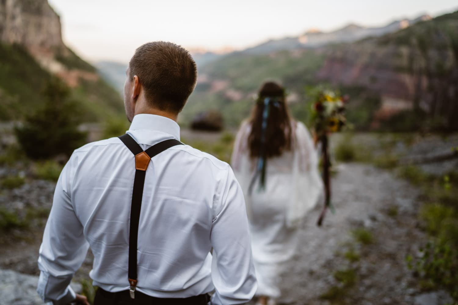 Bride and Groom Hiking to Bridal Veil Falls