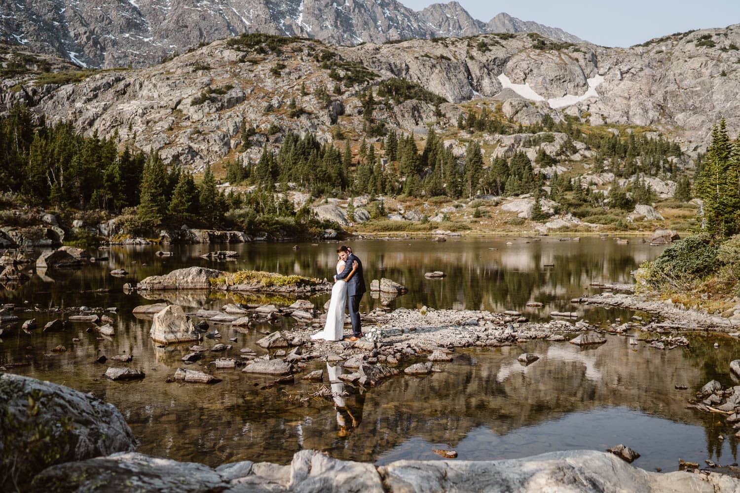 Bride and Groom Hugging Breckenridge Elopement Guide and Spots