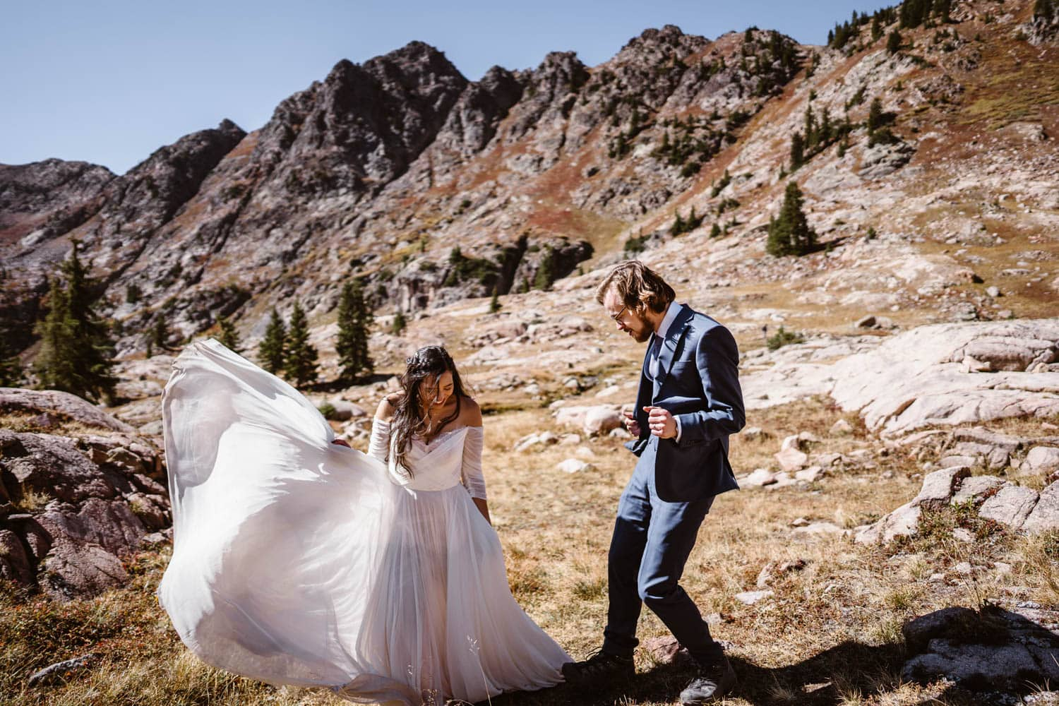 Bride and Groom Dancing Breckenridge Elopement Guide and Spots