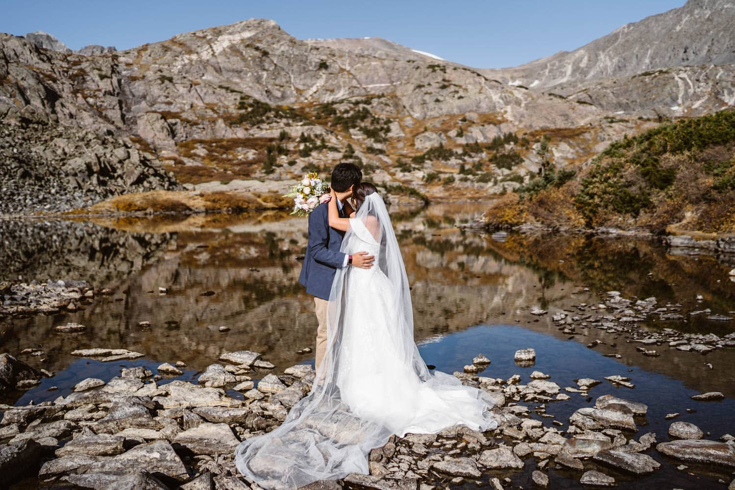 Bride and Groom at Lake Breckenridge Elopement Guide and Spots