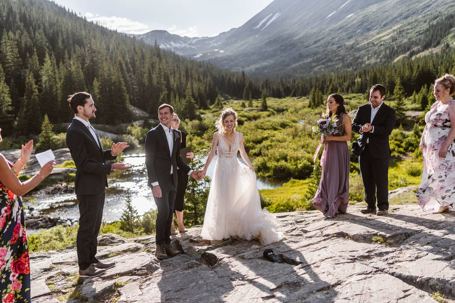 Bride and Groom With Family Breckenridge Elopement Guide and Spots