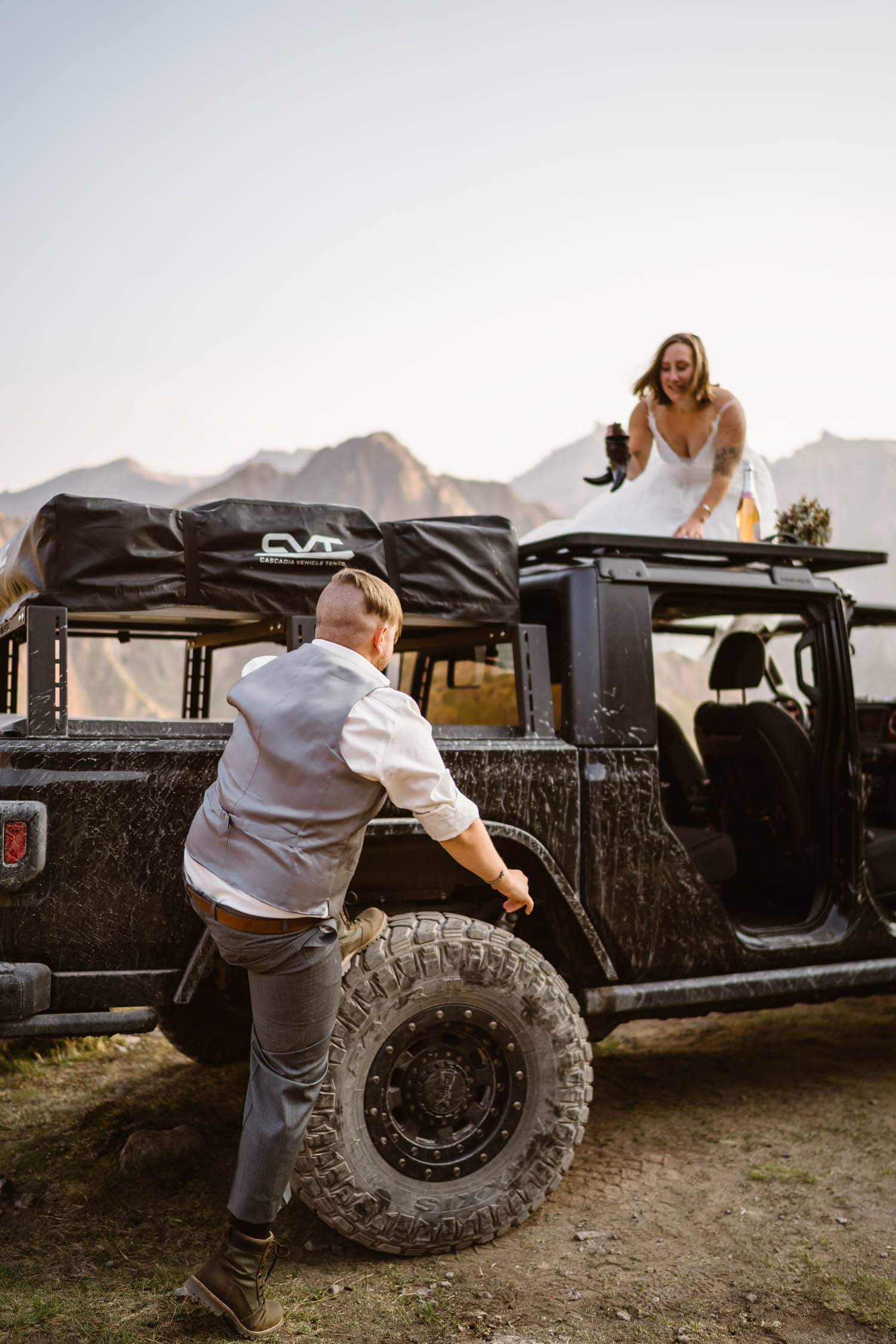 Bride and Groom on Jeep Colorado Off-Roading Elopement