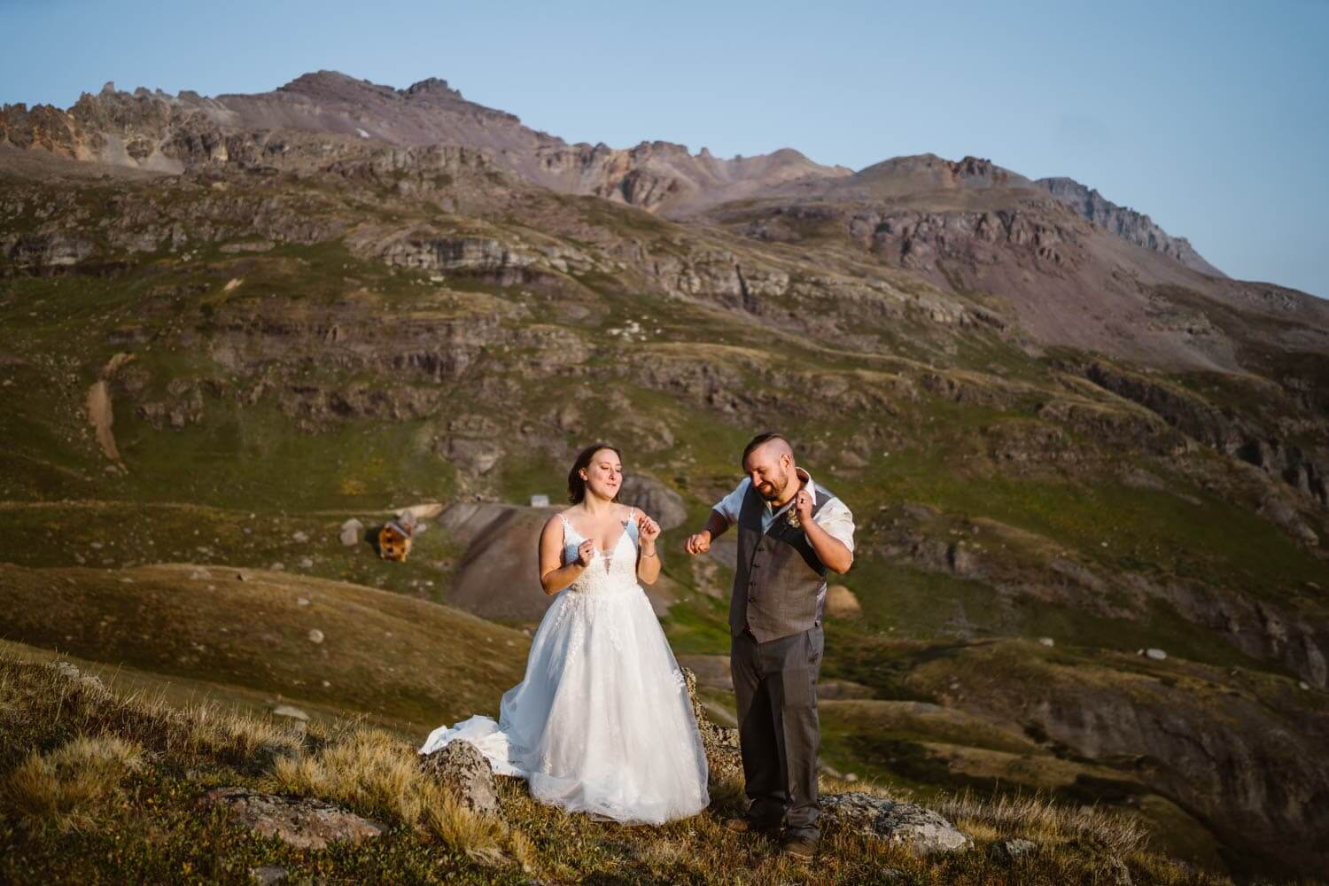 Bride and Groom Dancing Colorado Off-Roading Elopement