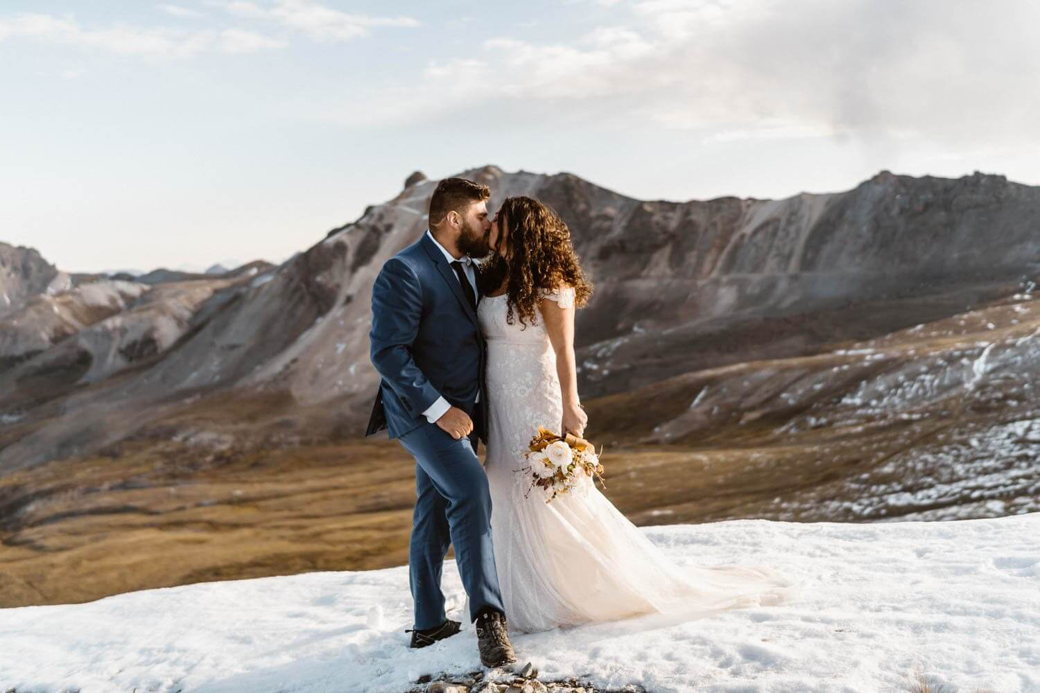 Bride and Groom Kissing Telluride Elopement Packages