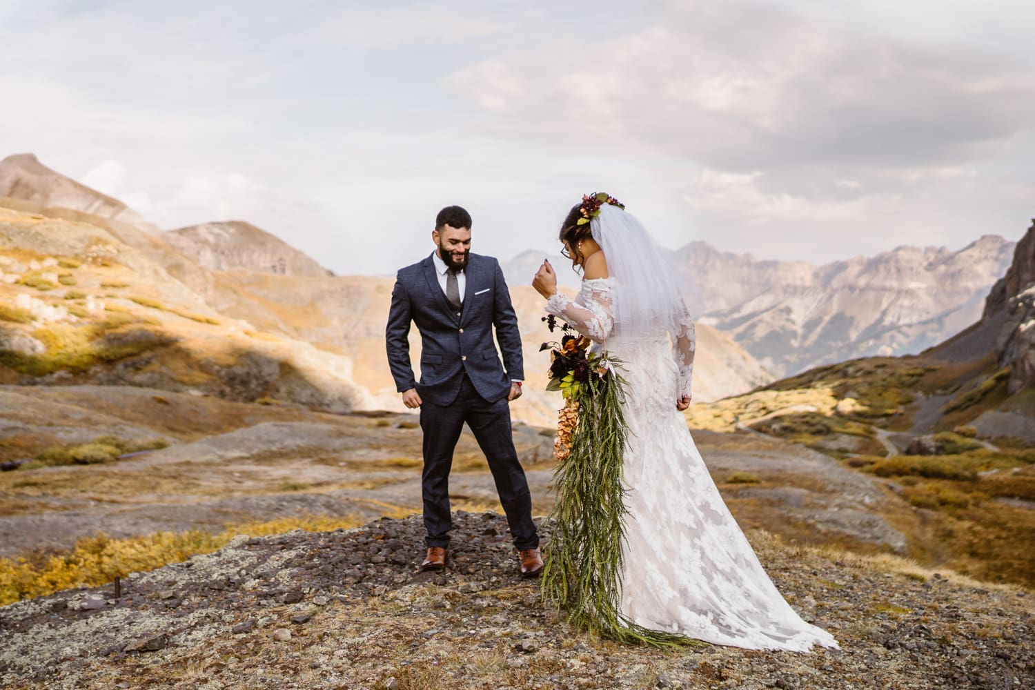 Bride and Groom First Look Telluride Elopement Packages
